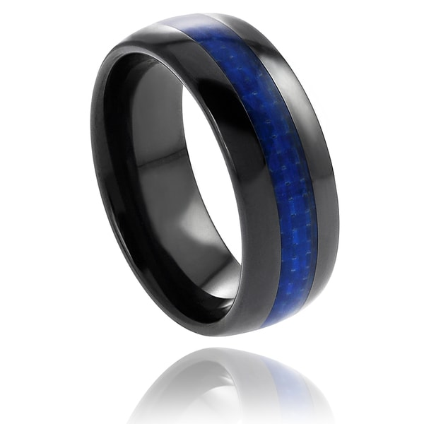 Vance Co. Ceramic Blue Carbon Fiber Inlay Band (8 mm)