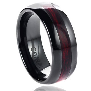 Vance Co. Ceramic Burgundy Wood Carbon Fiber Inlay Band (8 mm)