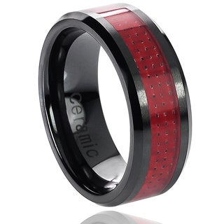 Vance Co. Ceramic Red Carbon Inlay Band (8 mm)