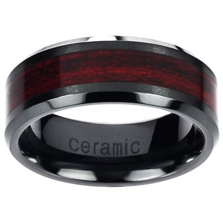 Men's Ceramic Burgundy Wood Inlay Band