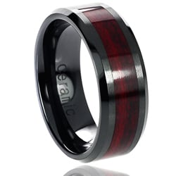 Vance Co. Ceramic Burgundy Wood Inlay Band (8 mm)