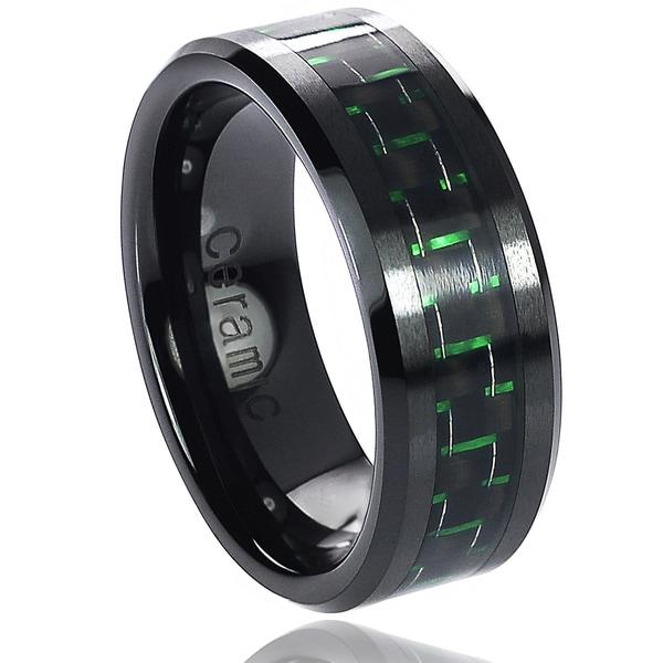 Vance Co. Ceramic Green Carbon Fiber Inlay Band (8 mm)