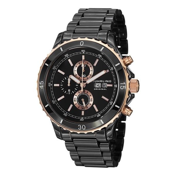 Stuhrling Original Men's Regatta Ceramic Chrono Bracelet Watch