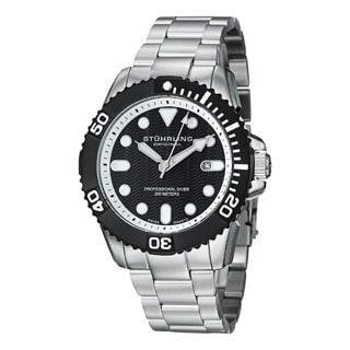 Stuhrling Original Men's Atlantis Elite Professional Diver Stainless Steel Bracelet Black-dial Watch