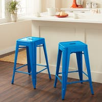 Carbon Loft Fowler 24-inch Blue Metal Counter Stool (Set of 2)