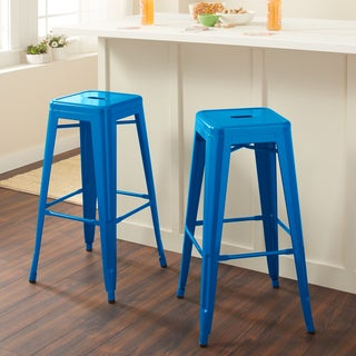 tabouret 30inch baja blue metal bar stools set of 2