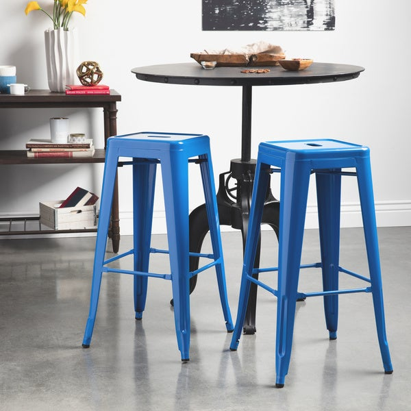 Tabouret 30 Inch Baja Blue Metal Bar Stools Set Of 2