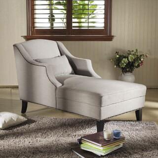 Baxton Studio 'Asteria' Putty Gray Linen Modern Chaise Lounge