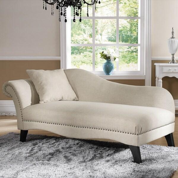 Shop Baxton Studio Phoebe Beige Linen Modern Chaise