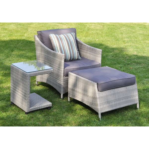 Shop Mia 3 Piece Rattan Wicker Outdoor Furniture Set