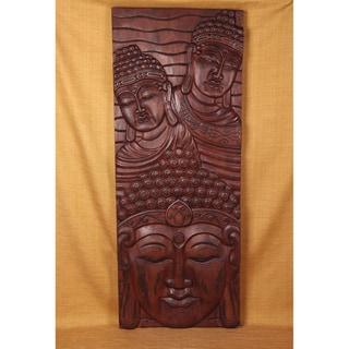 Handmade Three Head Vertical Decorative Panel Brown (India)