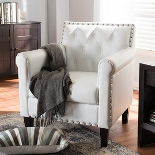 Contemporary White Faux Leather Chair by Baxton Studio