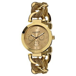 Akribos XXIV Women's Multifunction Mesh Link Gold-Tone Bracelet Watch