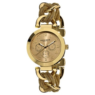 Akribos XXIV Women's Multifunction Mesh Link Gold-Tone Bracelet Watch with FREE GIFT - Gold