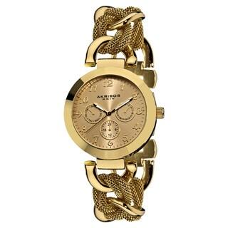 Akribos XXIV Women's Multifunction Mesh Link Gold-Tone Bracelet Watch - Gold