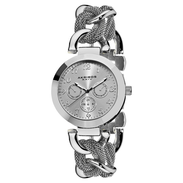 Akribos XXIV Women's Multifunction Stainless Steel Mesh-link Silver-Tone Bracelet Watch