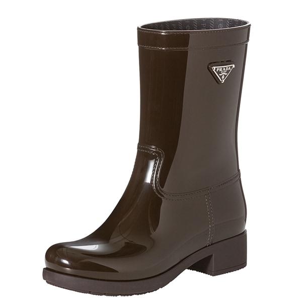 Prada Women's Brown Logo-emblem Short Rain Boots