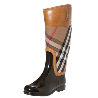 Burberry Women's Check Leather Trimmed Rain Boots