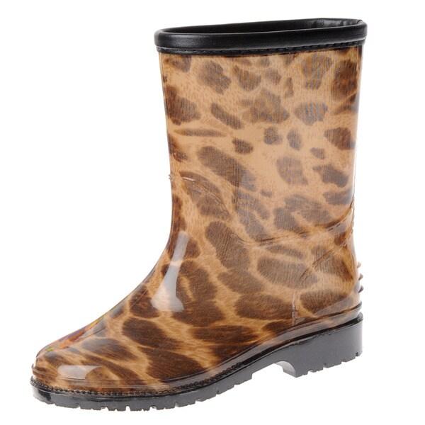 Henry Ferrera Girl's Leopard Rubber Rain Boots