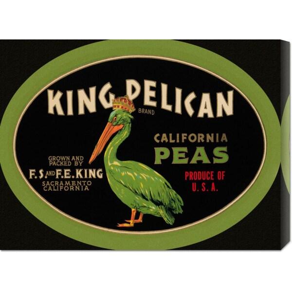Big Canvas Co. Retrolabel 'King Pelican California Peas' Stretched Canvas Art