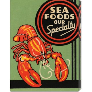 Global Gallery Retrolabel 'Sea Foods Our Specialty' Stretched Canvas Art