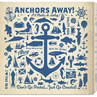 Global Gallery 'Anchor Pattern Square' Stretched Canvas
