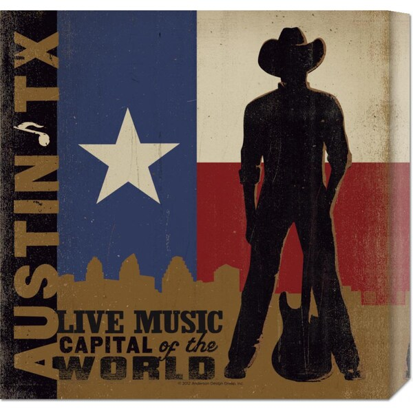 Global Gallery 'Austin, Live Music Capital of the World Square' Stretched Canvas