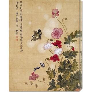 Global Gallery Ma Yuanyu 'Corn Poppy and Butterflies' Stretched Canvas