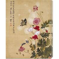 Global Gallery Ma Yuanyu 'Corn Poppy and Butterflies' Stretched Canvas - Tan/Green