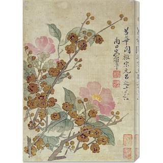 Global Gallery Yun Shouping 'Plum Blossom and Camellias' Stretched Canvas