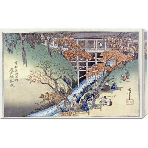 Global Gallery Hiroshige 'Red Maple Leaves at Tsuten Bridge' Stretched Canvas