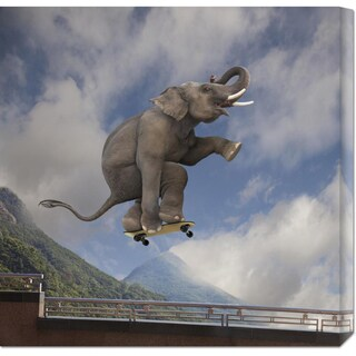 Global Gallery Lund-Roeser 'Elephant skateboarding' Stretched Canvas