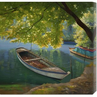 Global Gallery Adriano Galasso 'Barca sul fiume' Stretched Canvas