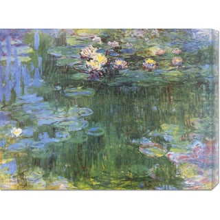 Global Gallery Claude Monet 'Waterlilies 1916 (3)' Stretched Canvas