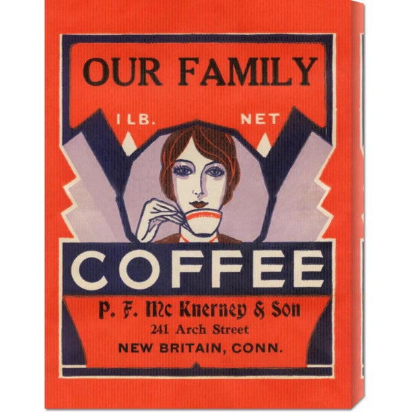 Global Gallery Retrolabel 'Our Family Coffee' Stretched Canvas