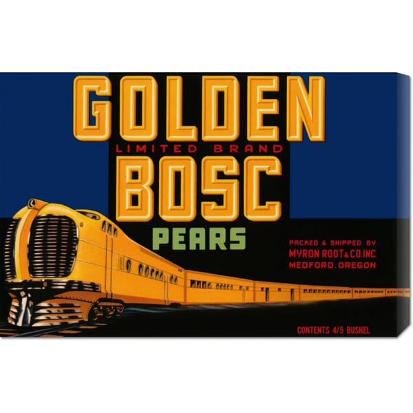 Global Gallery Retrolabel 'Golden Bosc Limited Edition Pears' Stretched Canvas