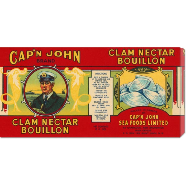 Global Gallery Retrolabel 'Cap'n John Brand Clam Nectar Bouillon' Stretched Canvas