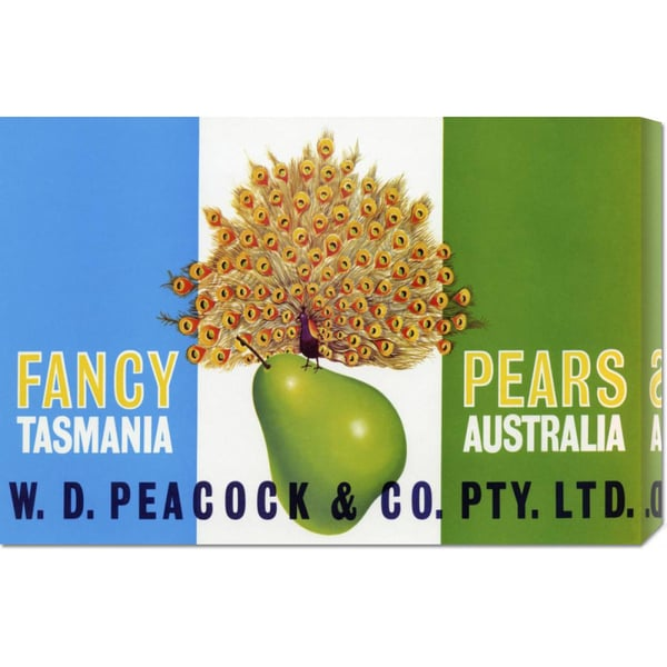 Global Gallery Retrolabel 'Peacock Pears' Stretched Canvas