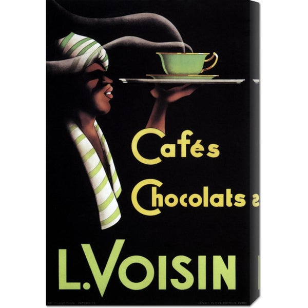 Global Gallery Retrolabel 'Cafes Chocolats L. Voisin' Stretched Canvas Wall Art