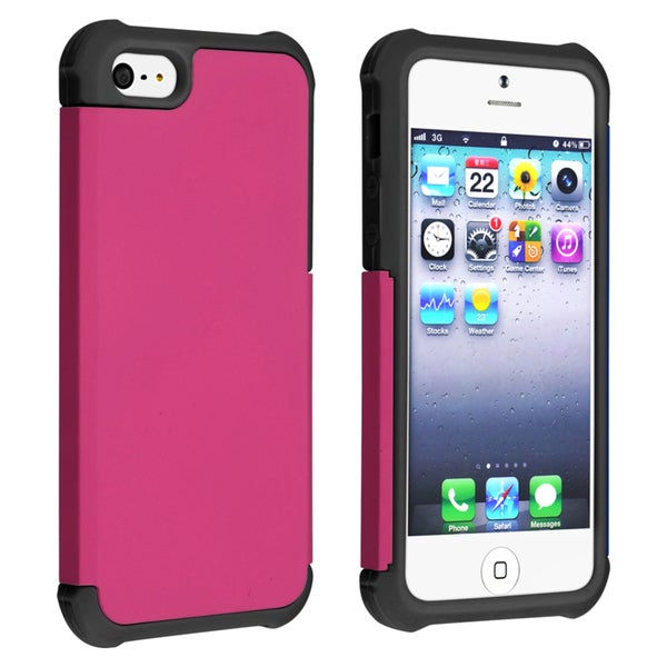 BasAcc Black/ Hot Pink Hybrid Case for Apple iPhone 5