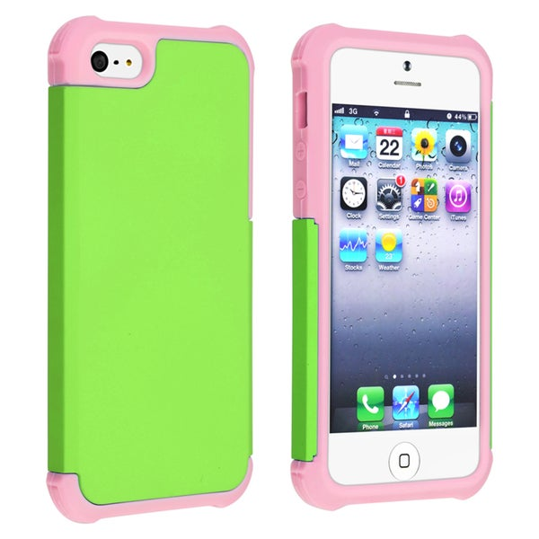 INSTEN Light Pink/ Green Hybrid Phone Case Cover for Apple iPhone 5