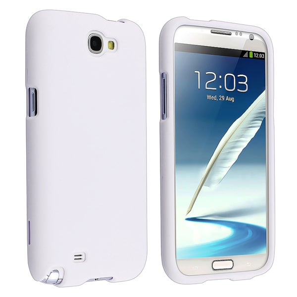 BasAcc White Rubber Coated Case for Samsung Galaxy Note II N7100