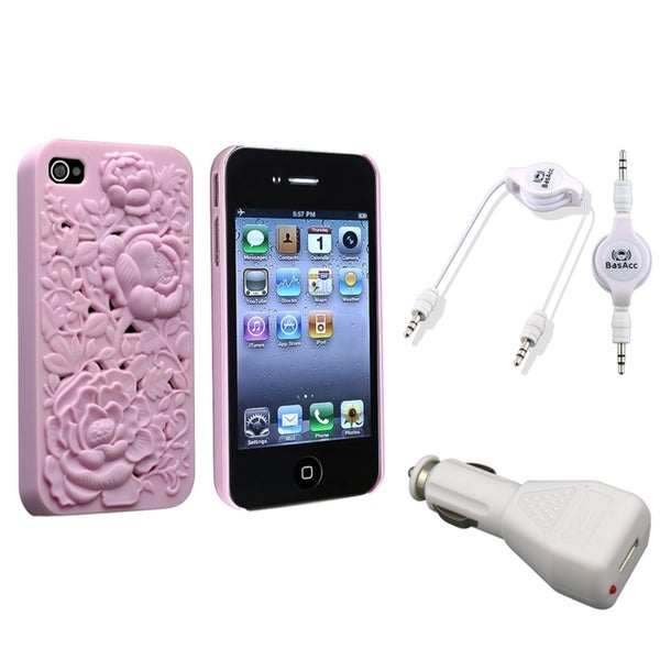 INSTEN Case Cover/ Cable/ Car Charger for Apple iPhone 4/ 4S