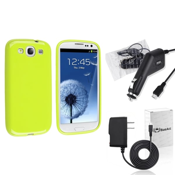 INSTEN Green TPU Phone Case Cover/ Travel/ Car Charger for Samsung Galaxy S3/ SIII