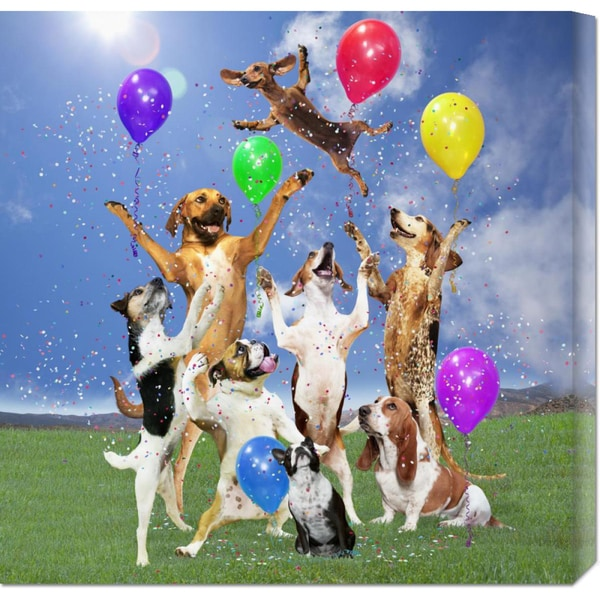 Global Gallery Lund-Roeser 'Dogs Partying' Stretched Canvas
