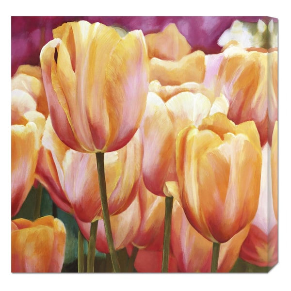 Global Gallery Luca Villa 'Spring Tulips I' Stretched Canvas