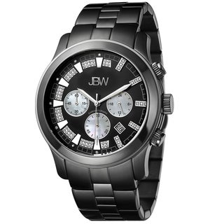 JBW Men's Black Ion Plated Steel 'Delano' Chronograph Diamond Watch