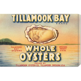 Global Gallery Retrolabel 'Tillamook Bay Whole Oysters' Stretched Canvas