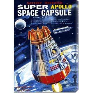 Global Gallery Retrorocket 'Battery Operated Super Apollo Space Capsule' Stretched Canvas