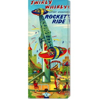 Global Gallery Retrorocket 'Twirly Whirly Rocket Ride' Stretched Canvas (Small)
